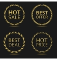 Golden discount badges vector image vector image