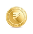 golden isolated rupee coin on white background vector image vector image