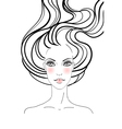 Hand-drawn fashion female portrait vector image