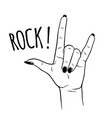 hand drawn female hand in rock gesture vector image vector image