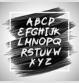 handwritten brush white letters isolated on black vector image vector image