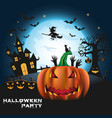happy halloween background with pumpkin and vector image