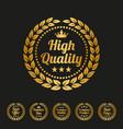 high quality laurel wreath label on black vector image vector image