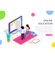 isometric online learning or video tutorial vector image vector image