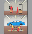 job with automobile fixing vector image vector image