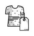 line dress with tag to shopping new clothes vector image