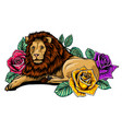 lion with roses and leaves african vector image vector image