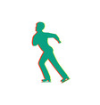 men figure skating isolated glitch icon vector image vector image