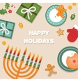 merry christmas and happy hanukkah celebration vector image vector image