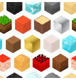 mine cubes signs 3d seamless pattern background vector image