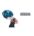 monkey head with modern cyborg brain over white vector image vector image