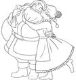 Mrs Claus Kisses Santa On Cheek And Hugs Coloring vector image vector image