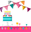 party background with flags and cake celebration vector image vector image