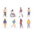 people with disabilities set man on crutches vector image vector image