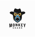 powerful monkey cowboy and shark logo icon vector image