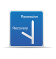road signs - recession recovery vector image vector image