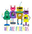 robots print friendship concept vector image vector image