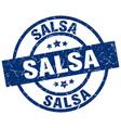 salsa blue round grunge stamp vector image vector image