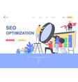 seo optimization flat landing page template vector image