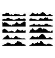 set black and white mountain silhouettes vector image