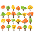 set of twenty four green yellow and red trees vector image vector image