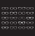 set of white glasses isolated icons vector image