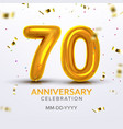 seventieth anniversary celebration number vector image