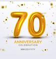 seventieth anniversary celebration number vector image vector image