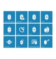 Smart Watch set icons on blue background vector image