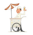 smiling ice cream seller with cart retro vintage vector image vector image
