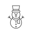 snowman outline icon winter and christmas theme vector image