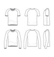 templates of blank t-shirt and tee vector image vector image