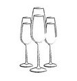 three glasses with champagne alcohol liquid vector image