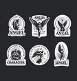 vintage emblems with women angels vector image vector image