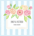 watercolor rose bouquet wreath with golden frame vector image vector image