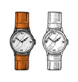 wristwatch or wristlet watch classic man with vector image vector image