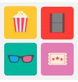 3D glasses ticket popcorn film Cinema icon set vector image