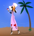 red-haired girl on the beach vector image