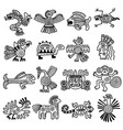 ancient tribal logo mexican aztec icons animals vector image