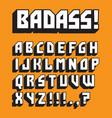badass custom retro alphabet vector image