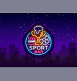 bar bar logo in neon style football fan club vector image