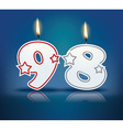 Birthday candle number 98 vector image vector image