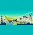 cartoon airport landscape airliner on vector image vector image