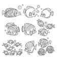 cartoon fun sea fishes set outlined for coloring vector image vector image