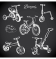chalk board set with hand drawn bicycles and vector image vector image