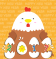 cute big fat white hen 2017 vector image