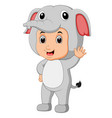 cute boy cartoon wearing elephant costume vector image