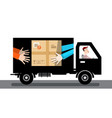 delivery service van car with parcel and driver vector image