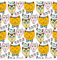 doodle cats pattern hand drawn colorful seamless vector image vector image