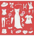 Fashion hand drawn doodle set vector image vector image